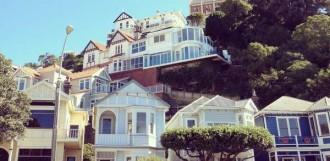 Häuser und Hügel in Wellington