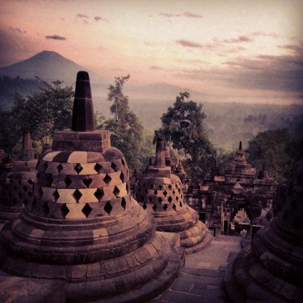 Sonnenaufgang Borobodur Java Indonesien