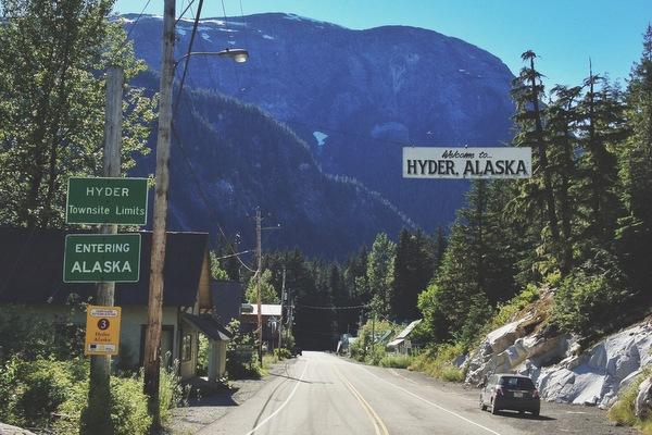 In Hyder Alaska Mietwagen Grenze
