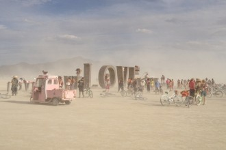 Burning Man 2014 Love sign art installation
