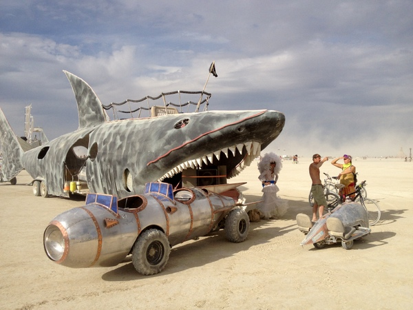 Shark Art Car mutant vehicle Burning Man