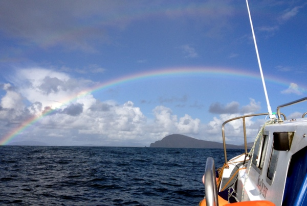 Bootsfahrt Irland Skellig Michael Regenbogen