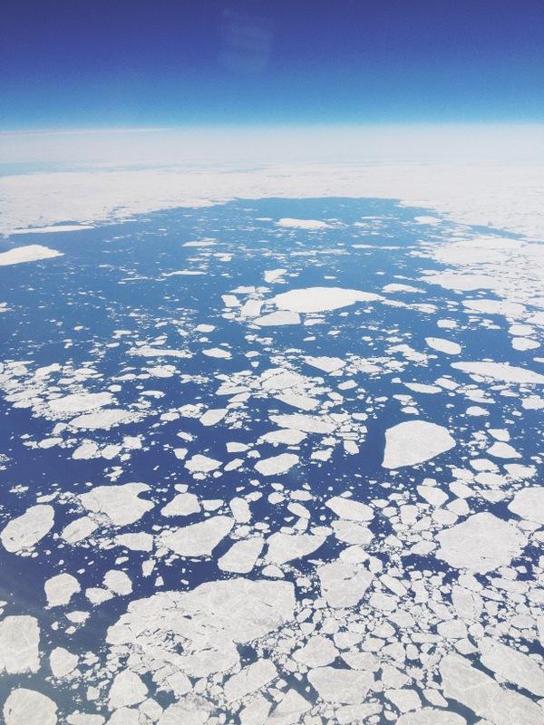 Eisschollen Hudson Bay Kanada aus dem Flugzeug