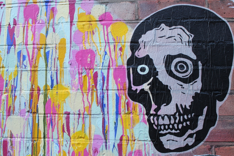 Streetart Pasteup London East End Skull