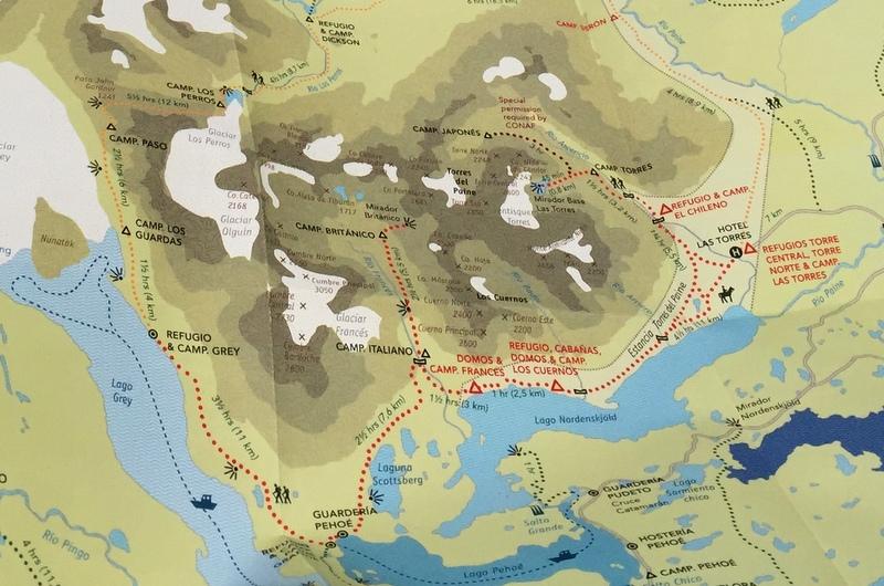 W Circuit Torres del paine Trekking Route Karte