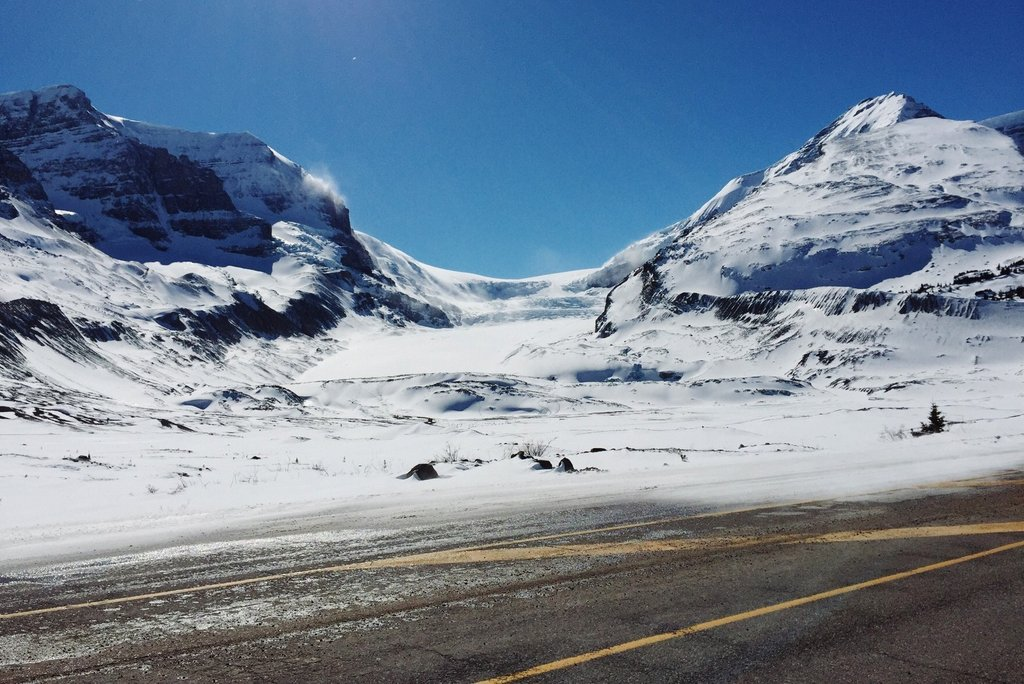Athabasca Glacier Icefields Parkway Winter Kanada Rocky Mountains