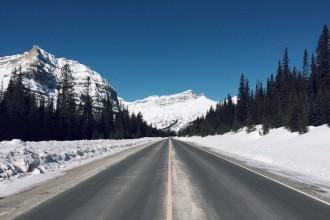 Icefields Parkway Straße kanadische Rockies Winter
