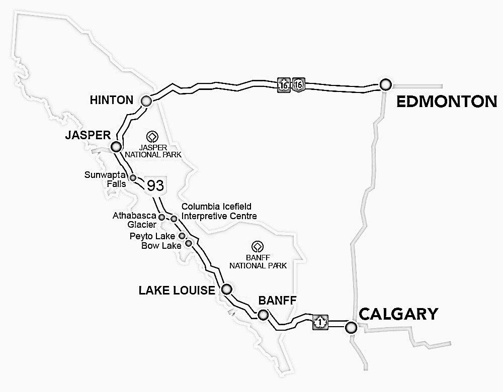 Route Karte Calgary Banff Jasper Edmonton Mietwagenrundreise