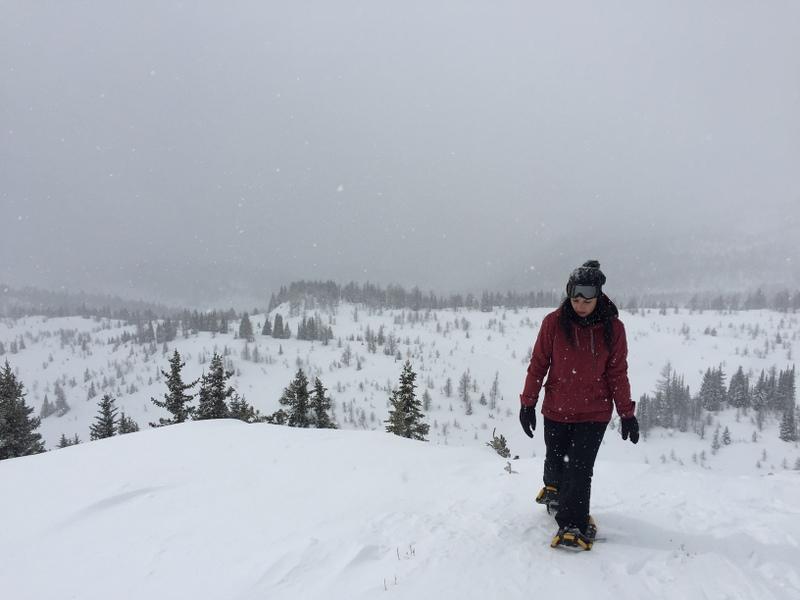 Schneeschuhwandern kanadische Rockies im Winter Banff
