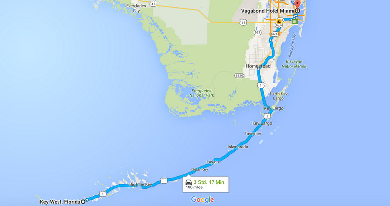 Florida Route Key West Miami Maps Karte