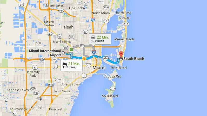Florida Rundreise Miami Beach Karte Route