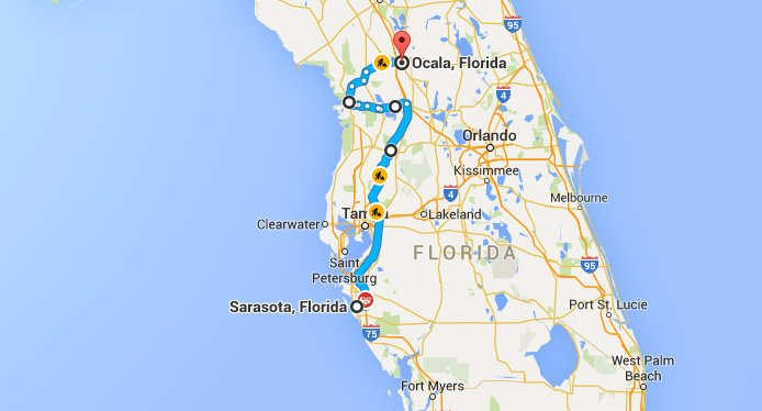 Screenshot Route Sarasota Ocala Florida