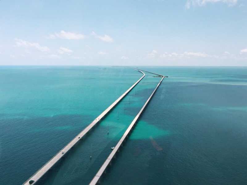 Seven Mile bridge Florida Keys aus der Luft