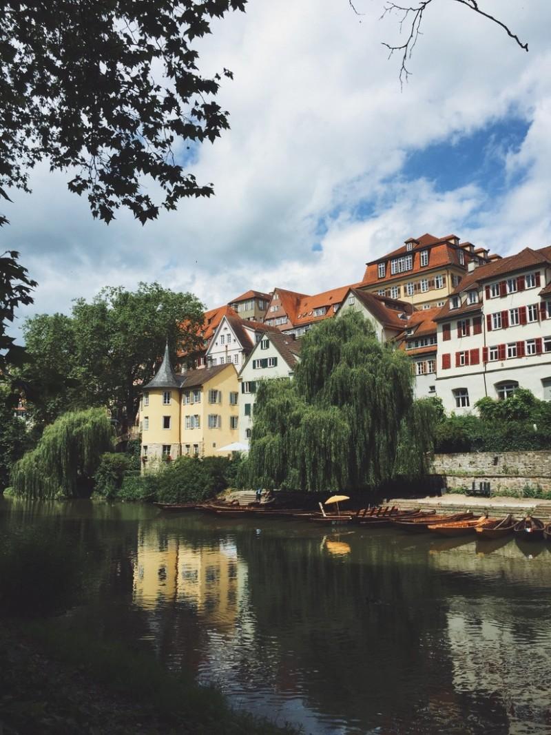 Tübingen Altstadt Blick vom Neckar
