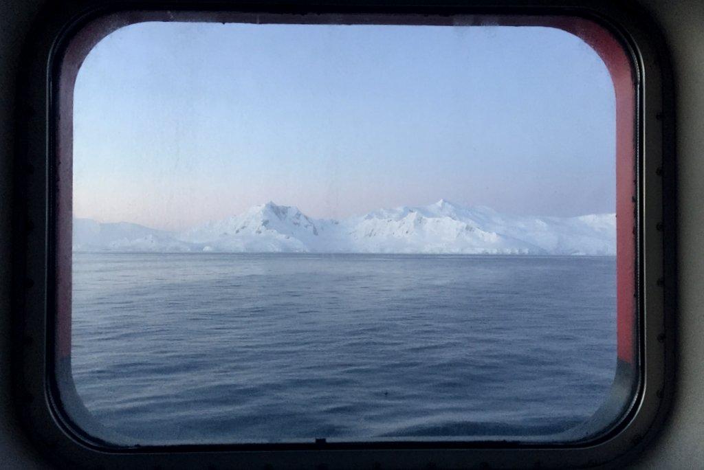 Antarktis Kreuzfahrt Blick aus Fenster Kabine