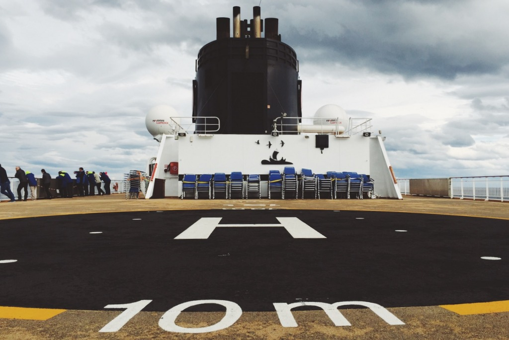 Helikopter Landeplatz Hurtigruten Schiff