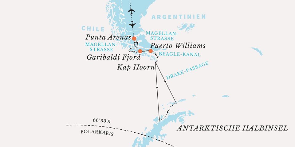 Route Expeditionskreuzfahrt Antarktis Hurtigruten