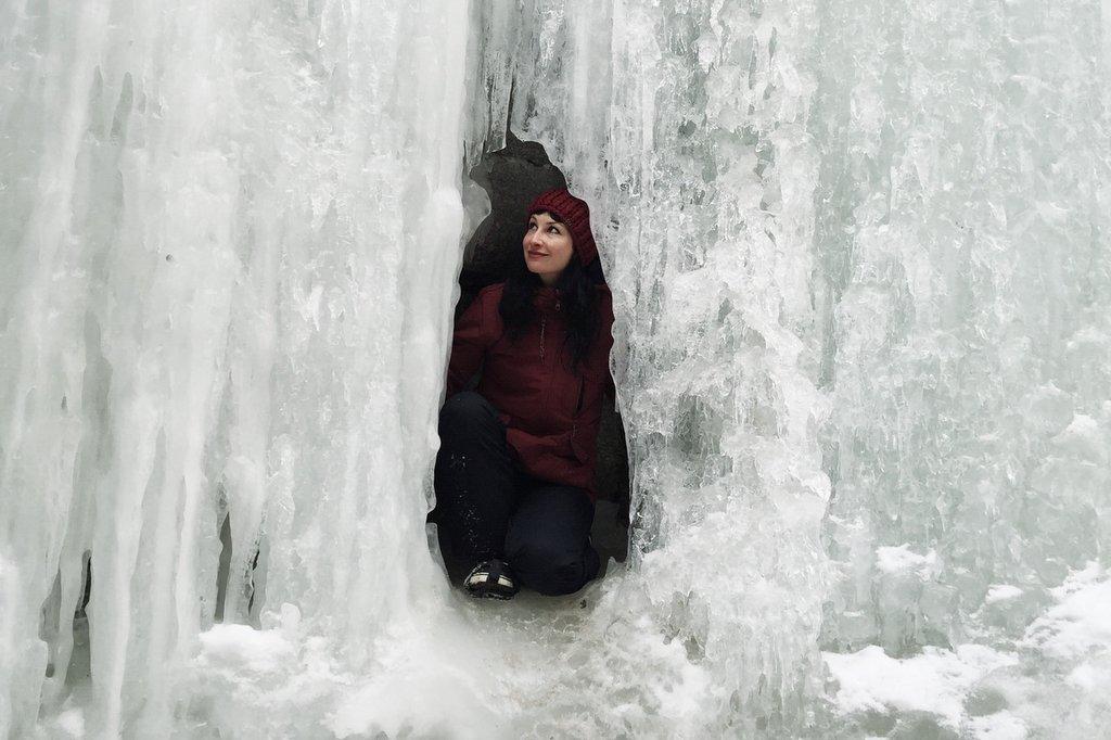 gefrorener Wasserfall Jasper Kanada