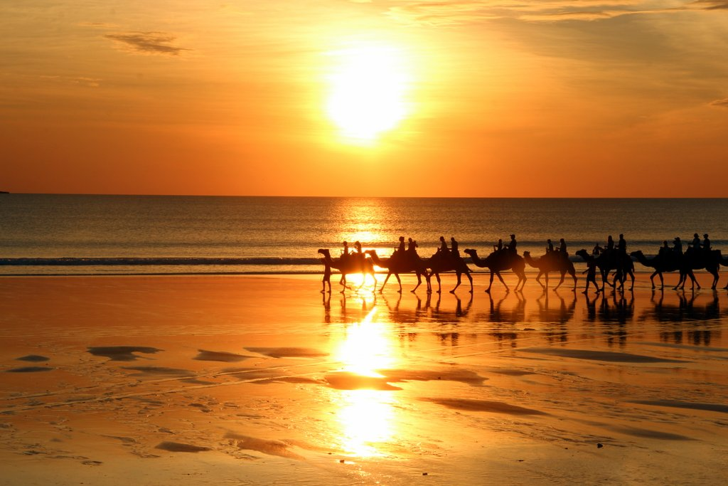 Broome Sonnenuntergang Kamele Cable Beach