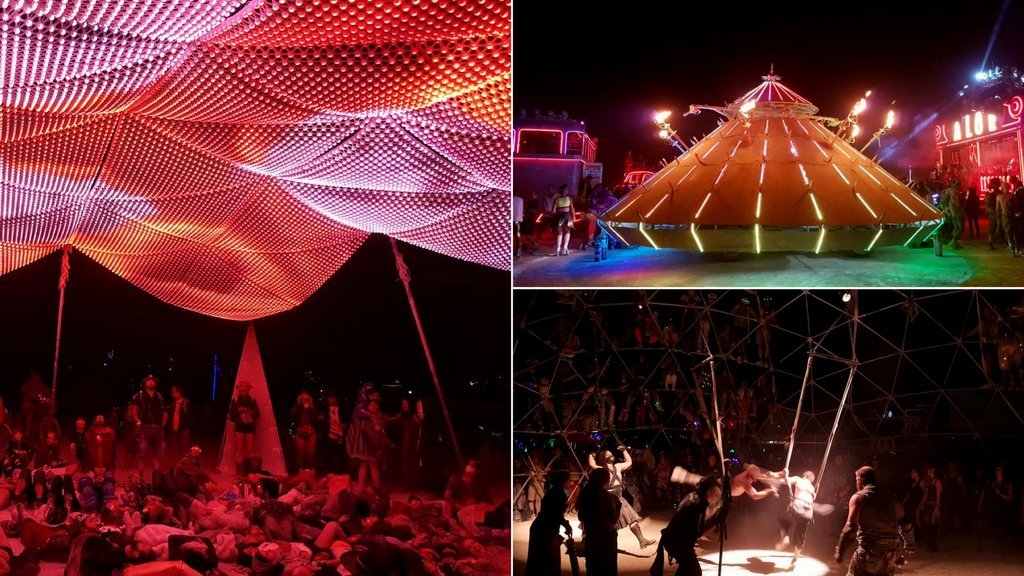 Burning Man 2017 Playa nachts Kunst Art Car Thunderdome
