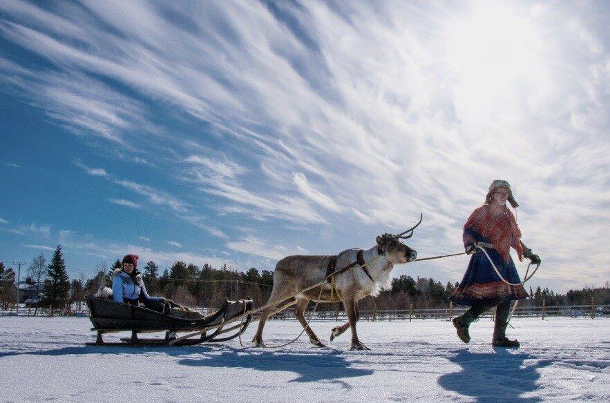 Rentierschlitten-Lappland-Winterurlaub-Finnland