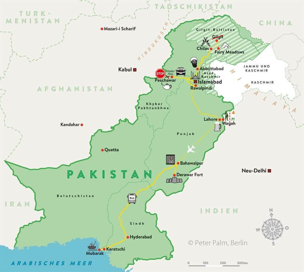 Pakistan Reiseroute