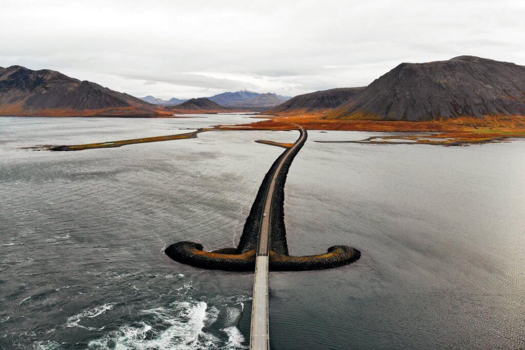 Island Strasse Snaefellsnes Drohne