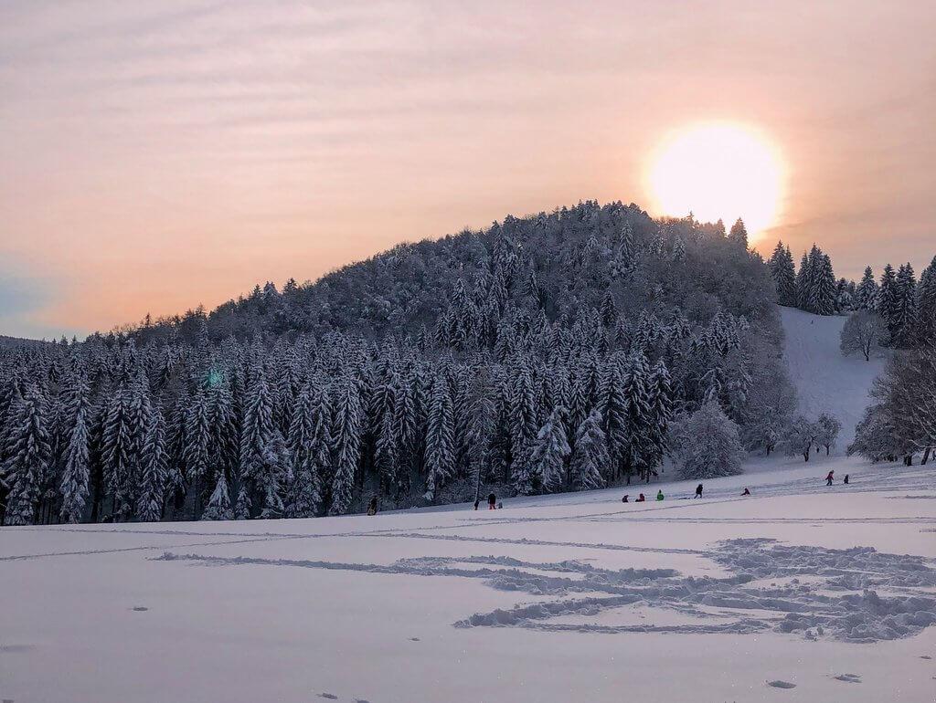 Sonnenuntergang Schwäbische Alb Winter